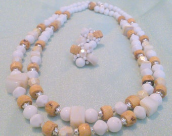 Vintage White and Tan Multi Strand Necklace and Earring Demi Parure