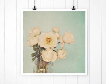 Floral Photography, White Flower Photo, flower decor, flower print, nature print, fine art photography wall decor nursery art, Blue Wall art