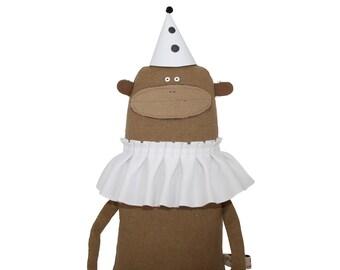 Monkey Plush Toy with White Ruffle Collar, Monkey Softie, Handmade Monkey Art Doll, Stuffed Toy Animal, Poosac