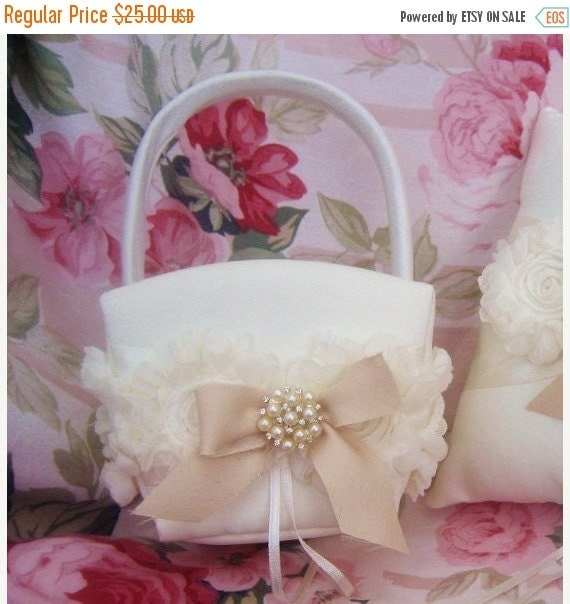 FALL SALE Flower Girl Basket Shabby Chic Vintage Ivory and Cream Custom Colors Wedding Basket