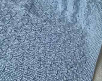 Baby Blanket*, Medium Blue Baby Blanket, Hand Knit Baby Afghan, Handmade Blanket,Basketweave Baby Blanket, Christening Baby Blanket,