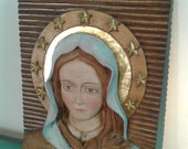 """Vintage religious  wood carving """"Virgen  Mary """" icon, wall decor, wall art Christian religious ,"""