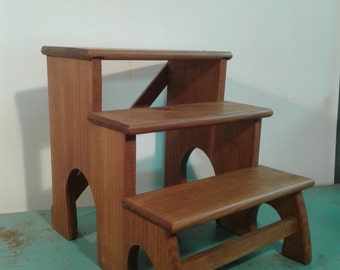 Vintage wood step stool, solid wood ladder,kitchen step ladder, three step stool, wood staircase,  Rustic decor, from the 70s,