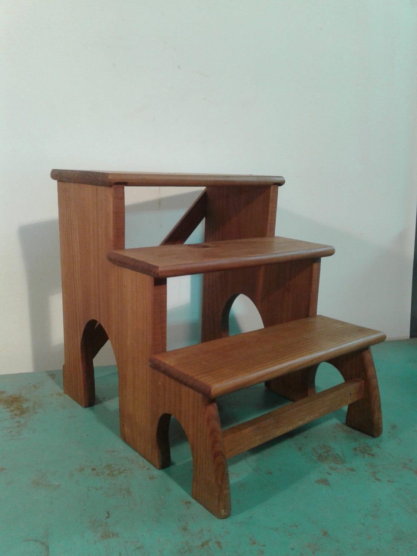 Vintage wood step stool solid wood ladderkitchen step