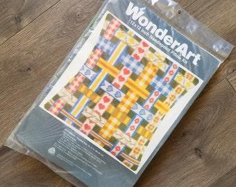 WonderArt Needlepoint Pillow Kit Ribbon and Hearts Yarn 12 X 12 New NIP Vintage DIY Kit