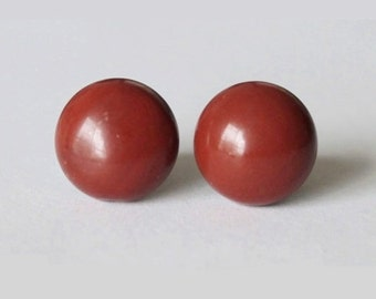 Large 10mm Natural Red Jasper Studs, hypoallergenic Titanium earring, Cabochon Gemstone post studs,for sensitive ears