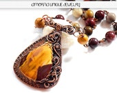 Mookaite and solid copper wire wrapped necklace