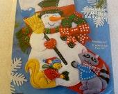 "Felt Christmas Stocking Kit Sequins Applique 16"" SNOWMAN Squirrel Raccoon Design Works"