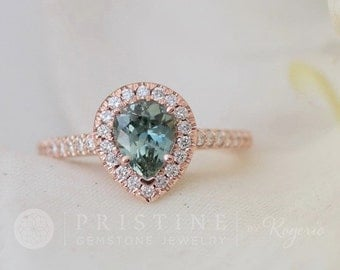 Pear Shape Blue Green Sapphire Engagement Ring Rose Gold Diamond Halo Wedding Ring Bridal Ring
