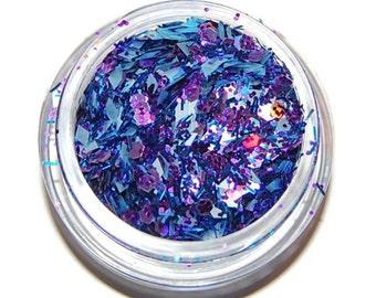 Big and Bold Purple Blue Sparkle Mix, Solvent Resistant Glitter Mix: 5 GRAM JAR. Raw Nail Glitter Mix for Nail Polish and Nail Art