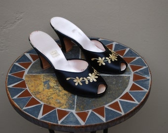 1950s Daniel Green Black and Gold Satin Slippers, 7 narrow , Shoes