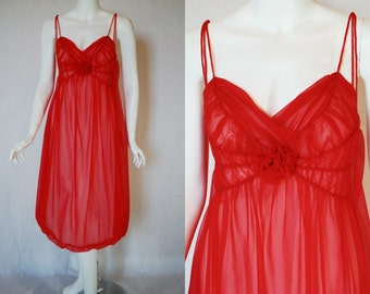 1960s Rogers Red Nightgown, 34, Small, Medium