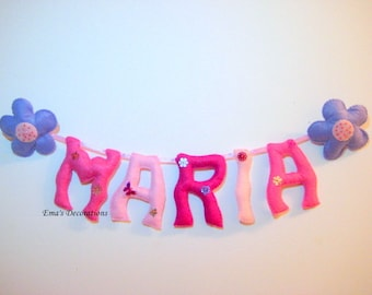 MARIA Name Banner, Flower Girl Gift, Flower Girl Room Decor, Pink Nursery Decor, Kids Room Personalized Decor, Purple Pink Decor, Name Sign