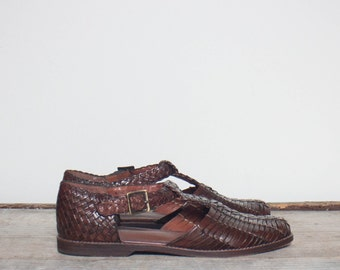 7 B | Women's Cole Haan Brown Woven Leather Huarache Sandals
