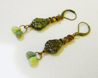 BOHO EArrings-Jet Picasso Czeck Leaf Shaped Bead, Teardrop Czech glass, Brass beads, Picasso Seed beads, Dangles Earrings,