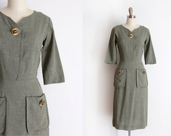 vintage 1950s dress // 50s green wool fitted dress