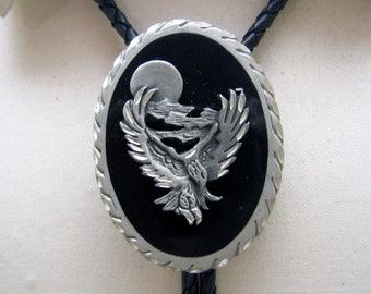 Vintage Black Enamel Pewter Screaming Eagle Bolo Tie, MINT