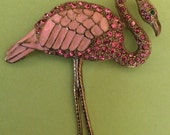 Vintage Rhinestone and Enamel Flamingo Bird Brooch