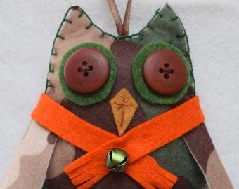 Felt camo owlie ornament