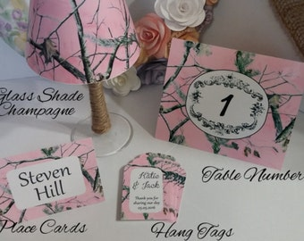 Camo Table Number Cards Country Wedding Decor Camouflage Rustic