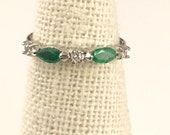 Genuine Natural Marquise Emerald with Accent CZ's Wedding Band Stacking Ring Sterling Silver Plated with Gold Rhodium