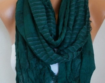 Emerald Green Cotton Tartan Scarf, So Soft, Winter Shawl, Plaid Cowl Men Gift Ideas For Her For Him Women Fashion Accessories
