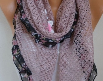 Knitted Scarf, Wedding Scarf,Bohemian,Evening Wrap,Cowl,Bridesmaid Gift,Lace,Gift Ideas For Her,Women Fashion Accessories - fatwoman