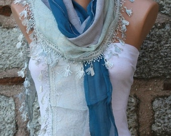Blue Scarf Shawl Scarf Cowl Scarf Bridesmaid Gift Bridal Accessories Gift Ideas For Her Women Fashion Accessories