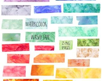 Watercolor Washi Tape Clip Art, Digital Scrapbook, Clipart Instant Digital Download Images