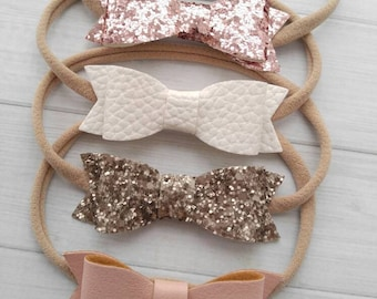 Faux Leather/ Glitter Bow Headbands -You Pick -Blush, White, Rose Pink and Champagne-  Newborn Baby to Adult - Nylon Headbands