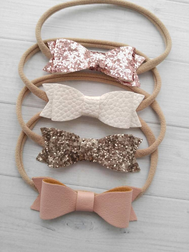 Faux Leather Glitter Bow Headbands You Pick Blush White