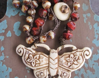 OOAK Rustic Butterfly crochet necklace - Revival - bohemian coral ivory crocheted fall boho by slashKnots