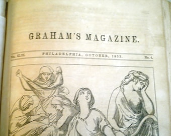 Antique Book Pre Civil War Grahams Magazine Compilation Book 1853