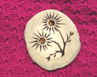 Large antler button with carved flower design
