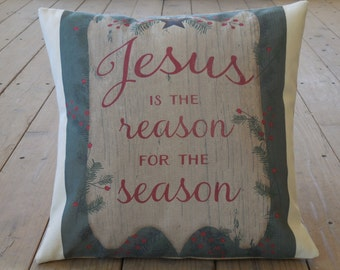 Jesus Reason for Season Pillow, Canvas & Burlap, Christmas, Christmas gift, Rustic Holiday, INSERT INCLUDED