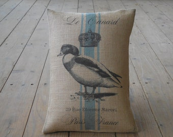 French Duck Burlap Pillow,  French Country, Farmhouse Pillows, INSERT INCLUDED