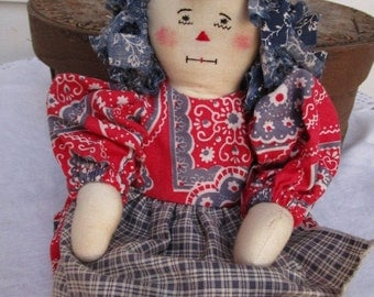 Handmade Primitive Rag Doll   Patriotic  Red White and Blue