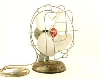 Vintage Industrial Super Lectric, Silver Aluminum Blades (c.1950s) - Collectible Open Cage Fan, Industrial Office Decor