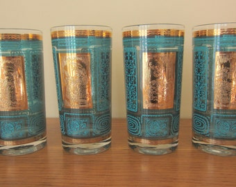 Set of 4 gold and turquoise bar ware beverage glasses.  Hollywood Regency glam drinking glasses.