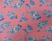 Vintage Feedsack ... Pink Floral Feedsack Fabric ... 1940s - 1950s ... Full Opened Sack