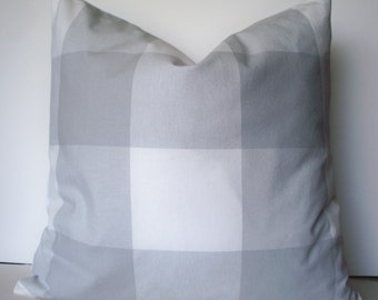 Gray Check Pillow Cover Gray Buffalo Check Large Gray Check Gray Gingham Pillow