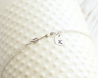 Sterling Silver Arrow Bracelet with Heart Initials -- You Choose How Many Initials