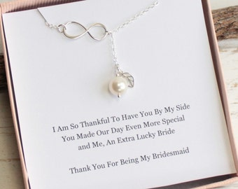 Sterling Silver Infinity Pearl Lariat Necklace with Bridesmaid's Sentiment Card