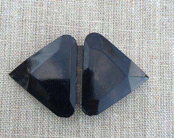 Jet black glass mourning buckle