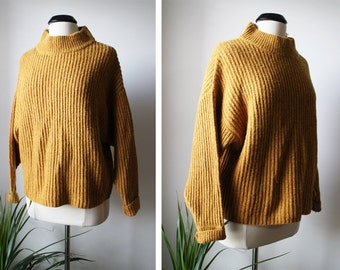 Vintage New Old Stock LEVIS Mustard Ribbed Chunky Oversized Sweater Size M Womens Wool Alpaca Blend