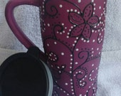 Ceramic Travel Mug Matte Plum with black and white Flowers, Swirls, and Dots