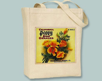 Vintage California Poppy Brand Oranges Fruit Crate Label Black or Neutral Canvas Tote  -- selection of sizes available