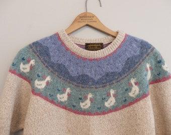 Vintage  eddie bauer Fair Isle Wool knit Pullover Sweater Size M-L