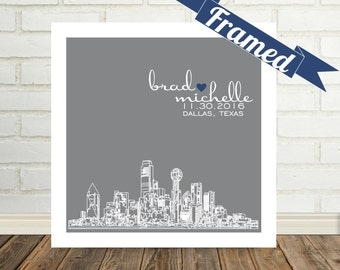 Dallas Skyline Wedding Gift Personalized Dallas Art Print FRAMED Dallas, Texas or Any City Available Worldwide Engagement Gift Holiday Gift