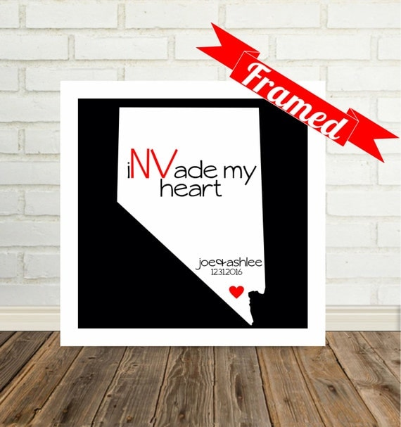 NEVADA Map Print Personalized Engagement Gift Framed Wedding Gift for Couple Unique Engagement Gift Valentines Day Gift for Him Gift for Her